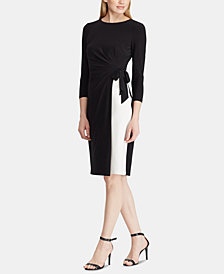 Lauren Ralph Lauren Petite Two-Tone Ruched Dress