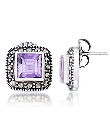 Amethyst (4 ct. t.w.) & Marcasite Square Earrings in Sterling Silver