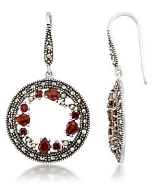 Garnet (1-5/8 ct. t.w.) & Marcasite Earrings in Sterling Silver