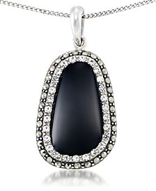 "Onyx (19 x 11mm), Crystal & Marcasite Pendant on 18""Chain in Sterling Silver"