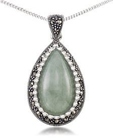 "Jade (19 x 10mm) & Marcasite Teardrop Pendant on 18"" Chain in Sterling Silver"