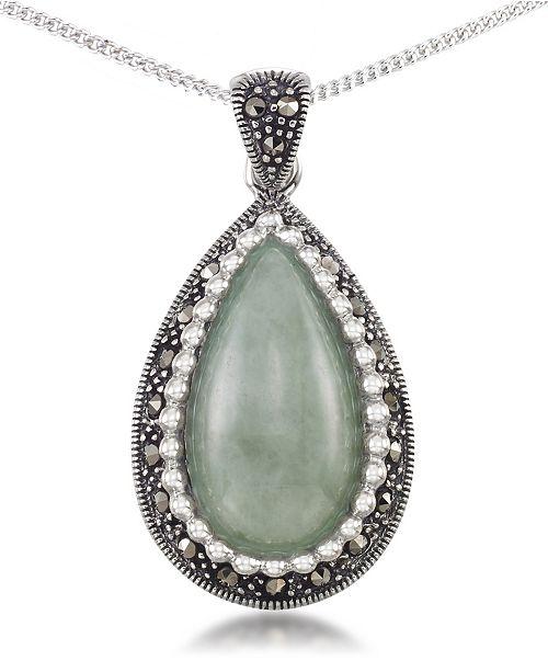 """Macy's Jade (19 x 10mm) & Marcasite Teardrop Pendant on 18"""" Chain in Sterling Silver"""