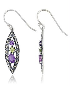 Amethyst (1-1/5 ct. t.w.) & Peridot (1/3 ct. t.w.) Marcasite Earrings in Sterling Silver