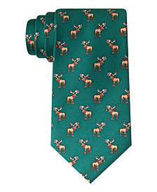 Tommy Hilfiger Men's Holiday Moose Classic Silk Tie