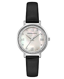 Ladies Black Leather Strap Watch with Light MOP Dial, 33mm