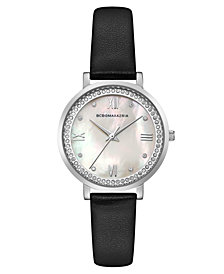 BCBG MaxAzria Ladies Black Leather Strap Watch with Light MOP Dial, 33MM