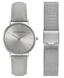 BCBG MaxAzria Ladies Watch Box Set with Grey Leather Strap and Silver Mesh Bracelet, 36MM