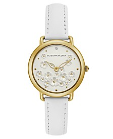 Ladies White Leather Strap with Floral Dial and Gold Case, 34mm