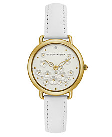 BCBG MaxAzria Ladies White Leather Strap with Floral Dial and Gold Case, 34MM