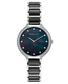 Ladies Stainless Steel and Black Ceramic Bracelet Watch with Black Dial, 34mm