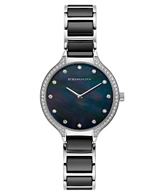 BCBGMAXAZRIA Ladies Stainless Steel and Black Ceramic Bracelet Watch with Black Dial, 34mm