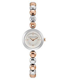 Ladies Two Tone Rose Gold Bracelet Watch with Silver Dial, 20mm