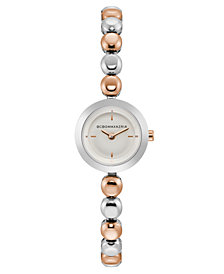 BCBG MaxAzria Ladies Two Tone Rose Gold Bracelet Watch with Silver Dial, 20MM