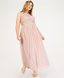 Speechless Trendy Plus Size Lace Infinity-Waist Gown
