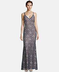 XSCAPE Embellished Lace Gown