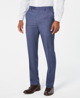 Men's Classic-Fit Airsoft Stretch Light Blue/Navy Birdseye Suit Pants
