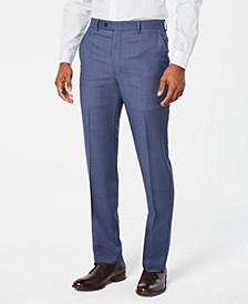 Men's Classic-Fit Airsoft Stretch Light Blue/Navy Birdseye Suit Pants