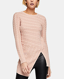 BCBGeneration Asymmetrical Cable-Knit Sweater