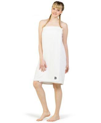 100% Turkish Cotton Terry Personalized Women's Bath Wrap - White