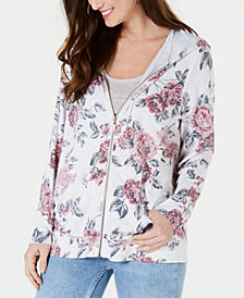 Style & Co Floral-Print Zip-Up Hoodie Top, Created for Macy's