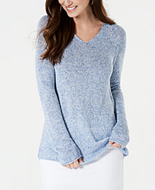 Style & Co Petite Marled-Knit V-Neck Sweater, Created for Macy's