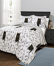 Stripe Bear 3-Pc Set Full/Queen Quilt Set