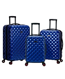 Rockland Quilt 3-Piece Polycarbonate Spinner Luggage Set