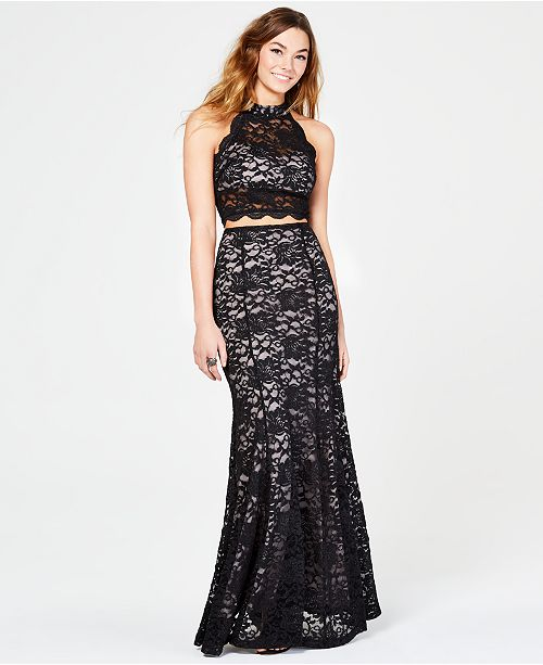 Sequin Hearts Juniors' 2-Pc. Glitter Lace Gown