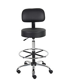 Boss Office Products Drafting Stool with Back Cushion