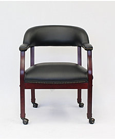 Boss Office Products Ivy League Executive Captains Chair with Casters