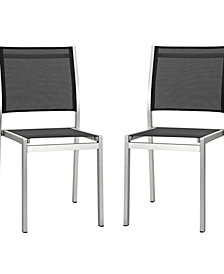 Modway Shore Side Chair Outdoor Patio Aluminum Set of 2 Black
