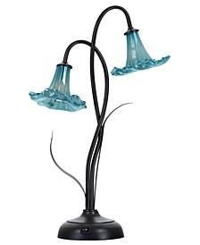 """Blue Trumpet 20.5""""H 2-Light Art Glass Accent Lamp"""