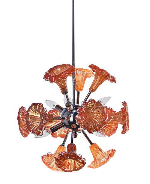 Dale Tiffany Yuri Orange 6-Light Art Glass Hanging Fixture