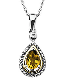 14k Gold and Sterling Silver Necklace, Citrine (5/8 ct. t.w.) and Diamond Accent Teardrop Pendant