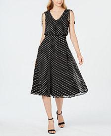 Jessica Howard Sleeveless Polka-Dot Midi Dress