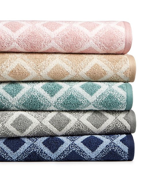 Hotel Collection Tile Diamond Cotton Bath Towel Collection, Created for Macy's
