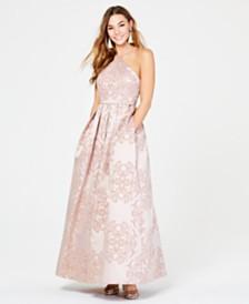 Teeze Me Juniors' Glitter-Velvet Flocked Halter Gown
