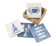 Thirstystone 4pc Indigo Coasters in Seagrass Holder