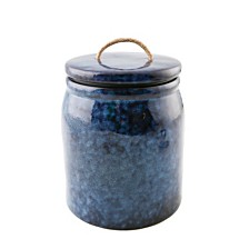 Thirstystone Blue Ceramic Canister w/Rope Handle, Large