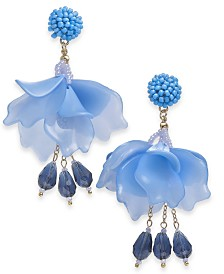 I.N.C. Gold-Tone Bead & Petal Drop Earrings, Created for Macy's
