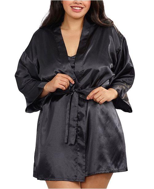 Dreamgirl Plus Size Satin Robe & Chemise Set