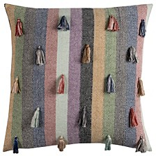 """20"""" x 20"""" Striped Tassled Pillow Cover"""