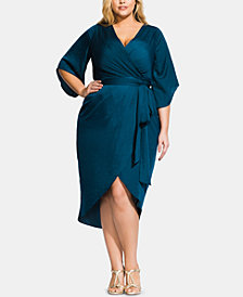 City Chic Plus Size Opulent Faux-Wrap Dress