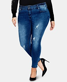 City Chic Trendy Plus Size Ripped Skinny Jeans