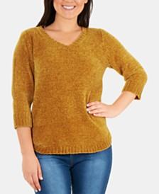 NY Collection Chenille V-Neck Sweater