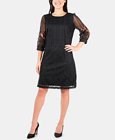 NY Collection Petite Lace-Trim A-Line Dress