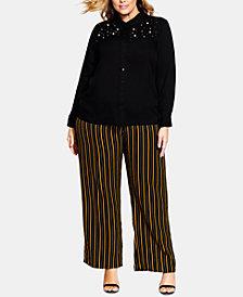 City Chic Trendy Plus Size Embellished Shirt