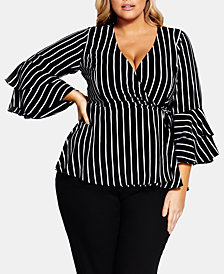 City Chic Plus Size Striped Wrap Top, Created For Macy's