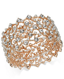 I.N.C. Rose Gold-Tone Crystal & Imitation Pearl Stretch Bracelet, Created for Macy's