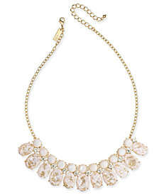 """I.N.C. Gold-Tone Crystal, Imitation Pearl & Foil-Detail Stone Statement Necklace, 17"""" + 3"""" extender, Created for Macy's"""